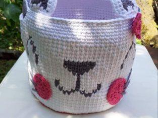 Голям детски плетен кош за играчки Hello Kitty